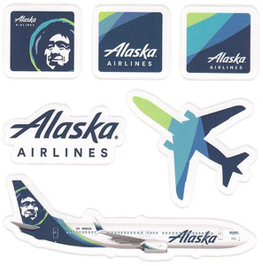 Alaska Airlines Sticker Sheet - Bundle of 5