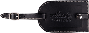 Alaska Airlines Luggage Tag Leather Black