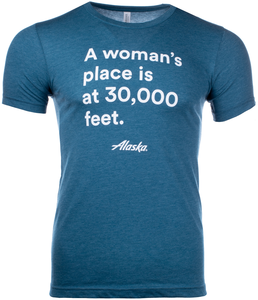 Unisex T-Shirt Short Sleeve Alaska Airlines A Woman's Place