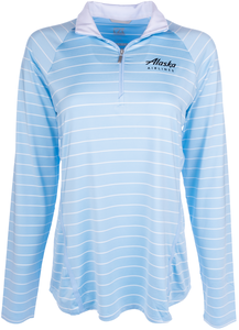 Alaska Airlines Sweathsirt Ladies Cutter and Buck 1/2 Zip Stripe