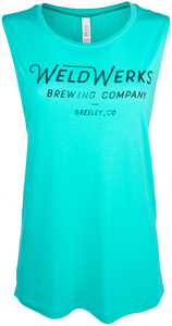Women's WeldWerks Brewing Scoop Muscle Tank-Teal