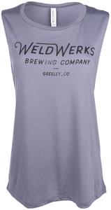 Women's WeldWerks Brewing Scoop Muscle Tank-Teal