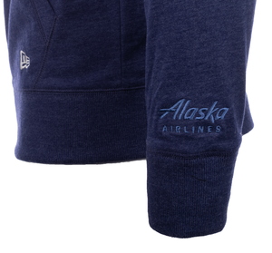 Alaska Airlines Sweatshirt Unisex New Era Sueded Cotton Full Zip Hooded