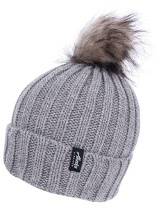 Alaska Airlines Beanie Knit Grey with Pom