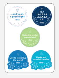 Alaska Airlines Holiday Sticker Sheet- Bundle of 5