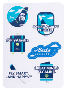 Alaska Airline Sticker Sheet Having a Great Air