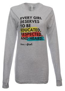 She's the First, Feminist Long-Sleeve Shirt