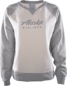 Alaska Airlines Sweatshirt Ladies Champion Rochester Cream/Grey