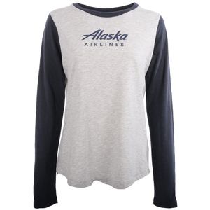 Alaska Airlines T-Shirt Ladies Champion Long Sleeve Colorblock