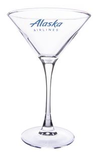 Alaska Airlines Glass Martini Stemmed 7.25oz