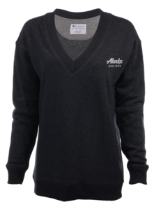 Alaska Airlines Sweatshirt Ladies Champion V-Neck Fleece